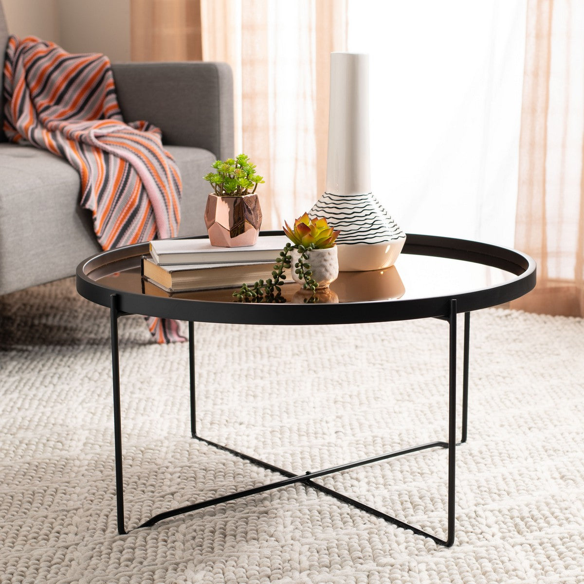 Ruby Tray Top Coffee Table In Rose Gold And Black Burke Decor