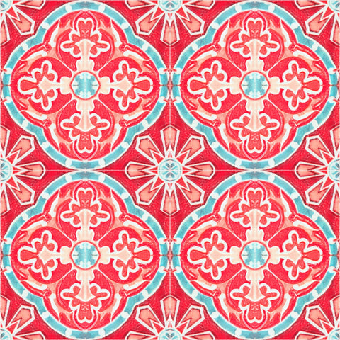 Rufous Tile Wallpaper in Blue and Red from the Eclectic Collection by Mind the Gap