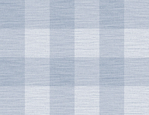 Rugby Gingham Wallpaper in Carolina Blue from the Luxe Retreat Collection by Seabrook Wallcoverings