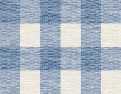 Rugby Gingham Wallpaper in Coastal Blue and Ivory from the Luxe Retreat Collection by Seabrook Wallcoverings
