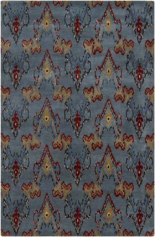 Rupec Collection Wool and Viscose Area Rug in Blue, Red, and Khaki design by Chandra rugs