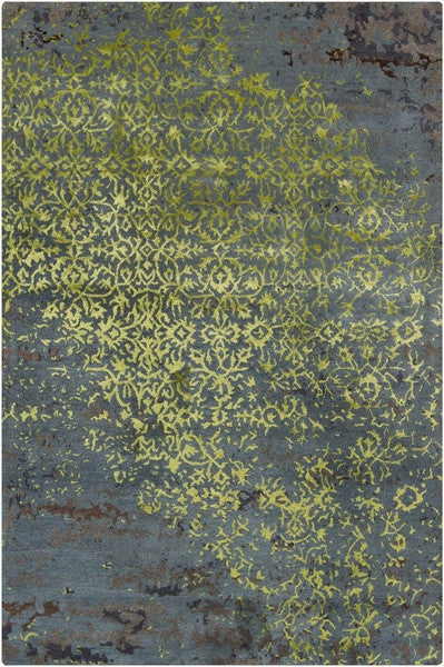 Rupec Collection Wool and Viscose Area Rug in Green, Blue, and Grey