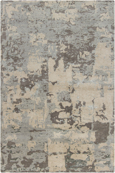 Rupec Collection Wool and Viscose Area Rug in Grey and Cream
