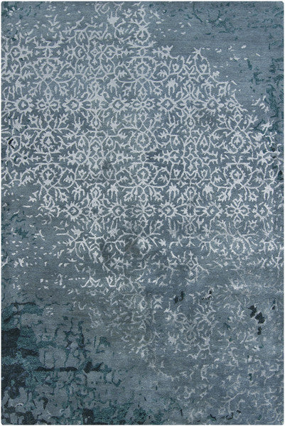 Rupec Collection Wool and Viscose Area Rug in Light Blue and Dark Blue