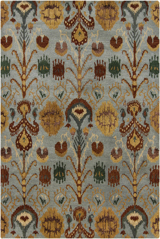 Rupec Collection Wool and Viscose Area Rug in Multi, Blue, and Gold design by Chandra rugs