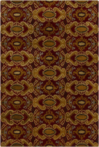 Rupec Collection Wool and Viscose Area Rug in Multi, Burgundy, and Gold design by Chandra rugs