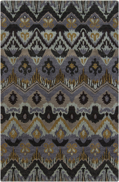 Rupec Collection Wool and Viscose Area Rug in Multi, Grey, and Gold