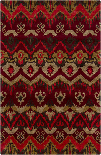 Rupec Collection Wool and Viscose Area Rug in Multi, Red, and Gold