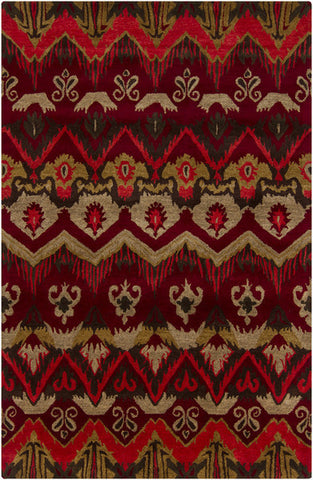 Rupec Collection Wool and Viscose Area Rug in Multi, Red, and Gold design by Chandra rugs