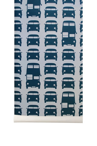 Sample Rush Hour Kids Wallpaper in Petrol by Ferm Living