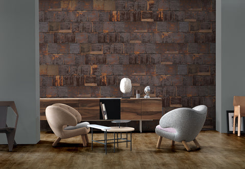 Rusted Metal Wallpaper in Brown by Piet Hein Eek for NLXL Lab