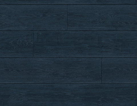 Rustic Shiplap Peel-and-Stick Wallpaper in Denim Blue from the Luxe Haven Collection by Lillian August