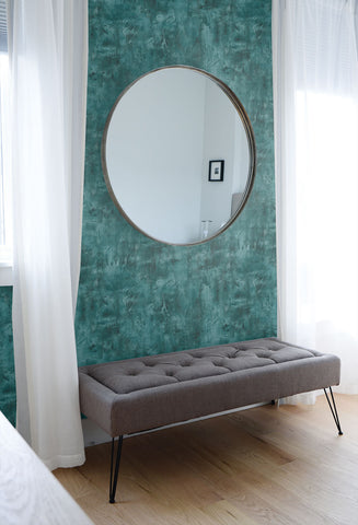 Rustic Stucco Faux Wallpaper in Emerald from the Living With Art Collection by Seabrook Wallcoverings