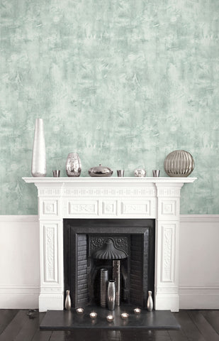 Rustic Stucco Faux Wallpaper in Green Mist from the Living With Art Collection by Seabrook Wallcoverings