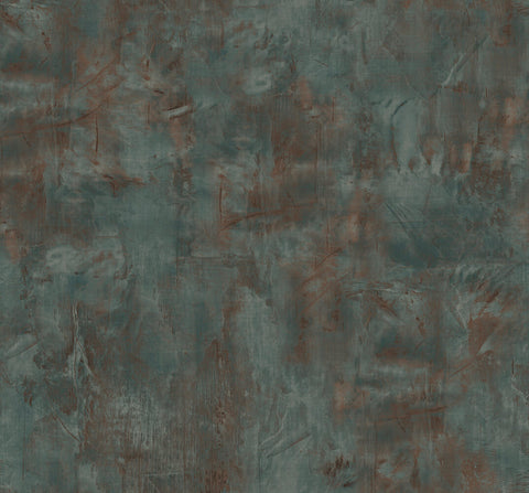 Rustic Stucco Faux Wallpaper in Rust and Forest Green from the Living With Art Collection by Seabrook Wallcoverings