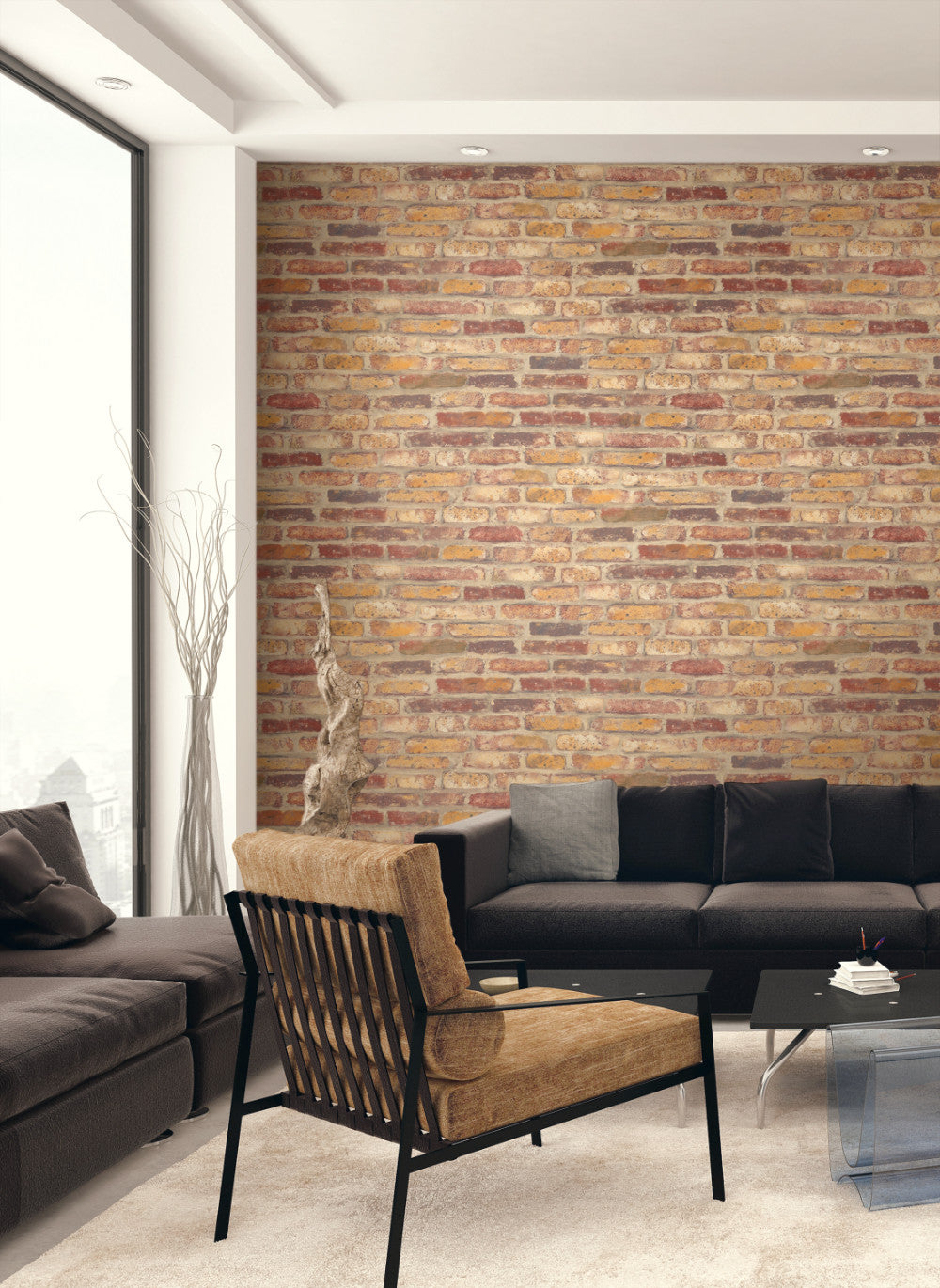 Rustic Faux Brick Peel And Stick Wallpaper In Red By