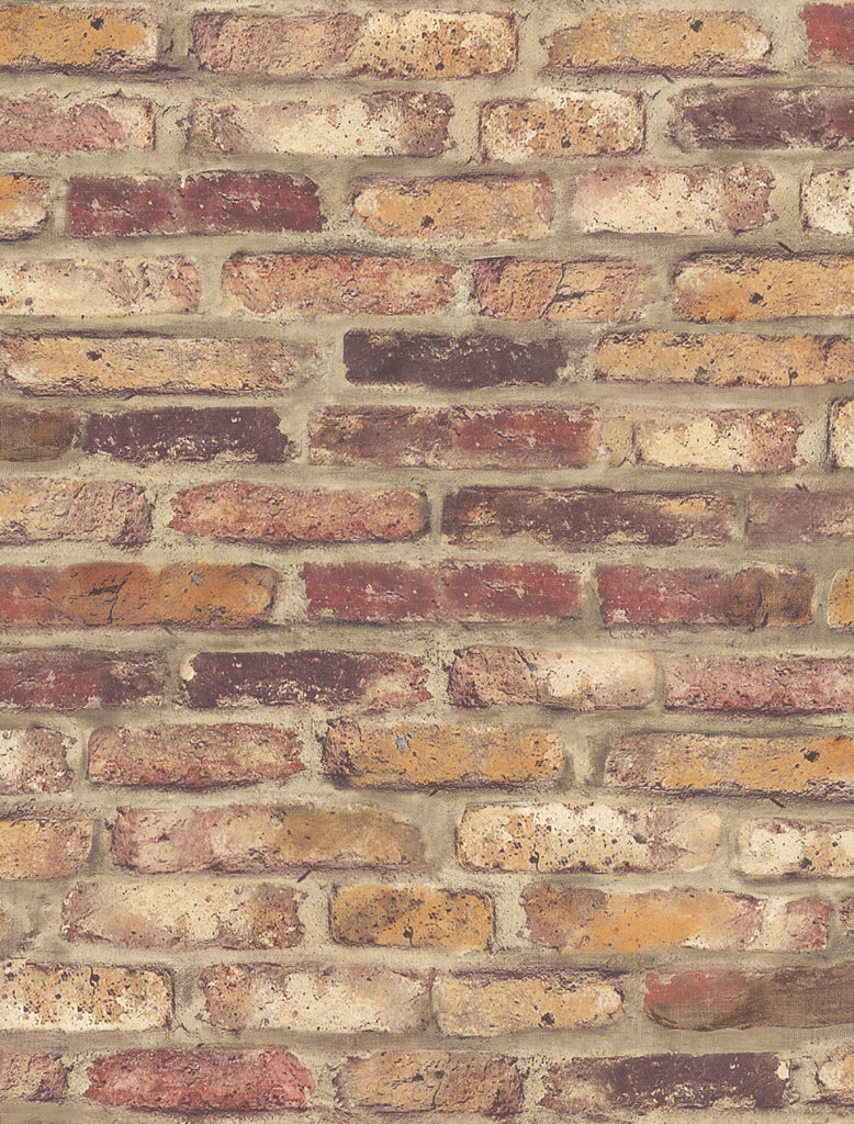 Rustic Faux Brick Peel-and-Stick Wallpaper in Red by NextWall