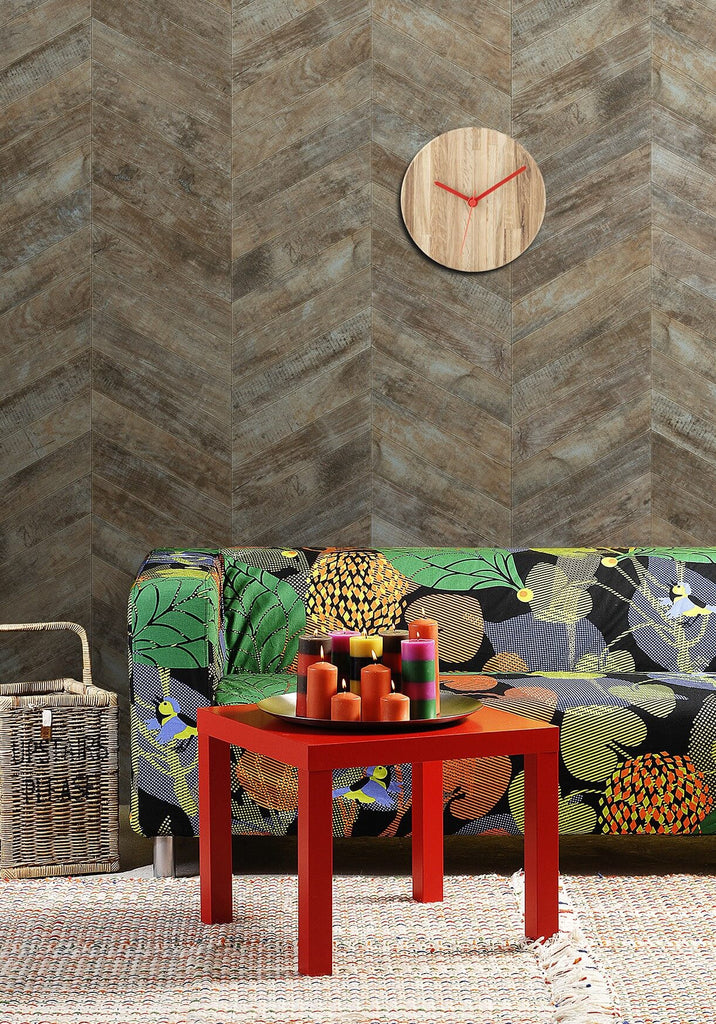 Rustic French Chevron Wallpaper from the Kemra Collection design by Milton & King