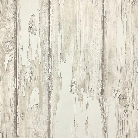 Rustic Planks Wallpaper in Cream and Beige from the Precious Elements Collection by Burke Decor