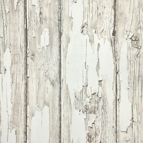 Rustic Planks Wallpaper in Grey and White from the Precious Elements Collection by Burke Decor