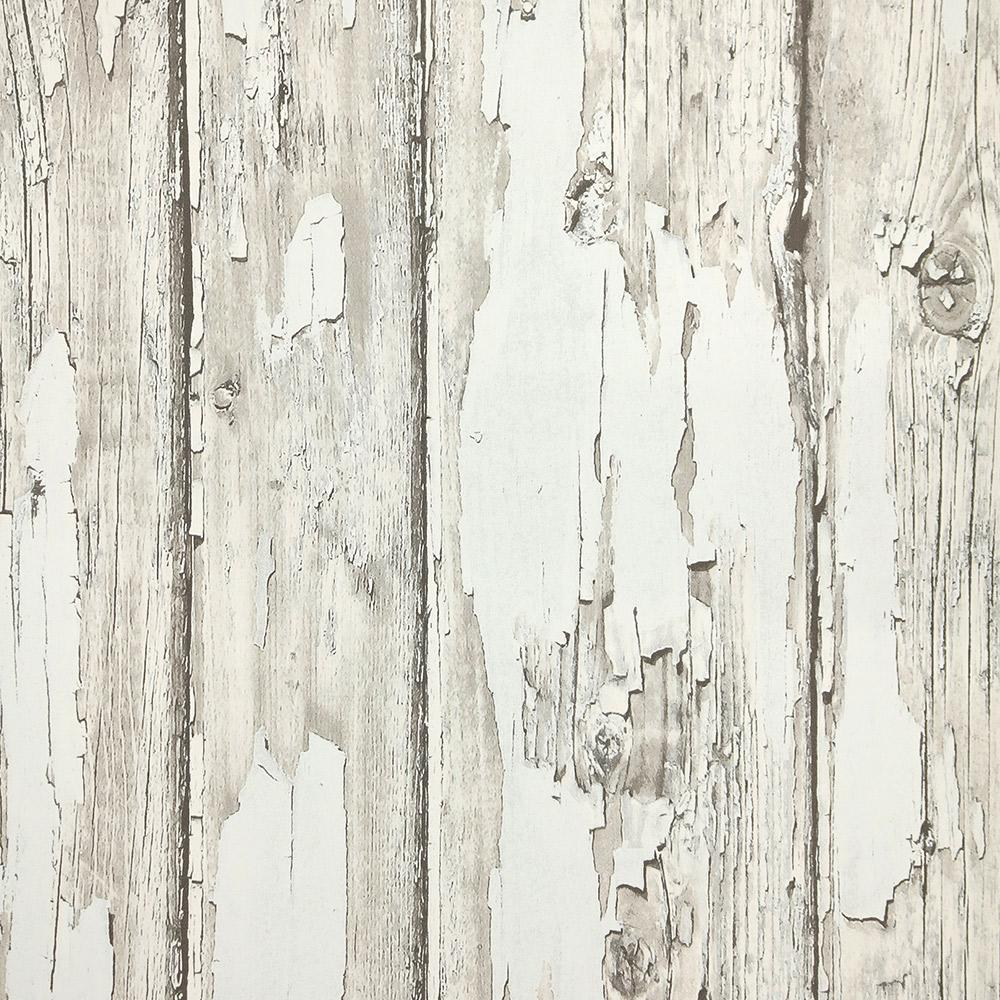 Sample Rustic Planks Wallpaper in Grey and White from the Precious Elements Collection by Burke Decor