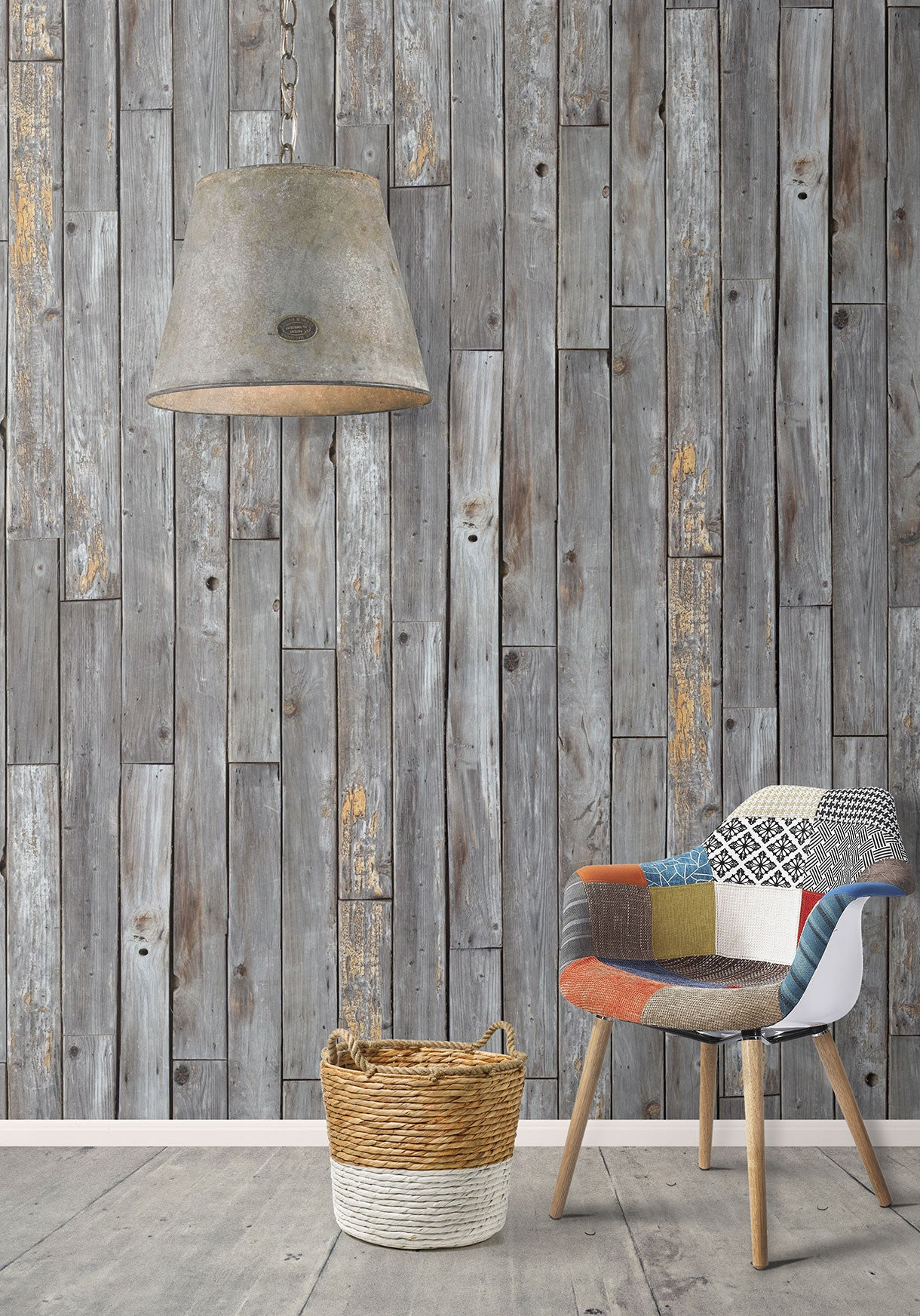 Rustic wood panels wallpaper design by milton king for Home wallpaper wood