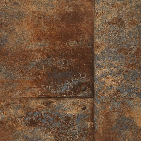 Rusty Panel Wallpaper in Bronze from the Precious Elements Collection by Burke Decor