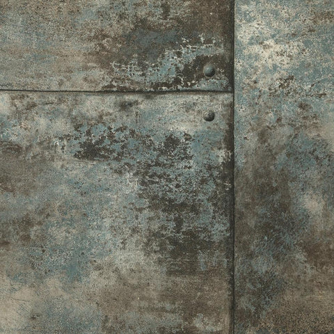 Rusty Panel Wallpaper in Steel Blue from the Precious Elements Collection by Burke Decor