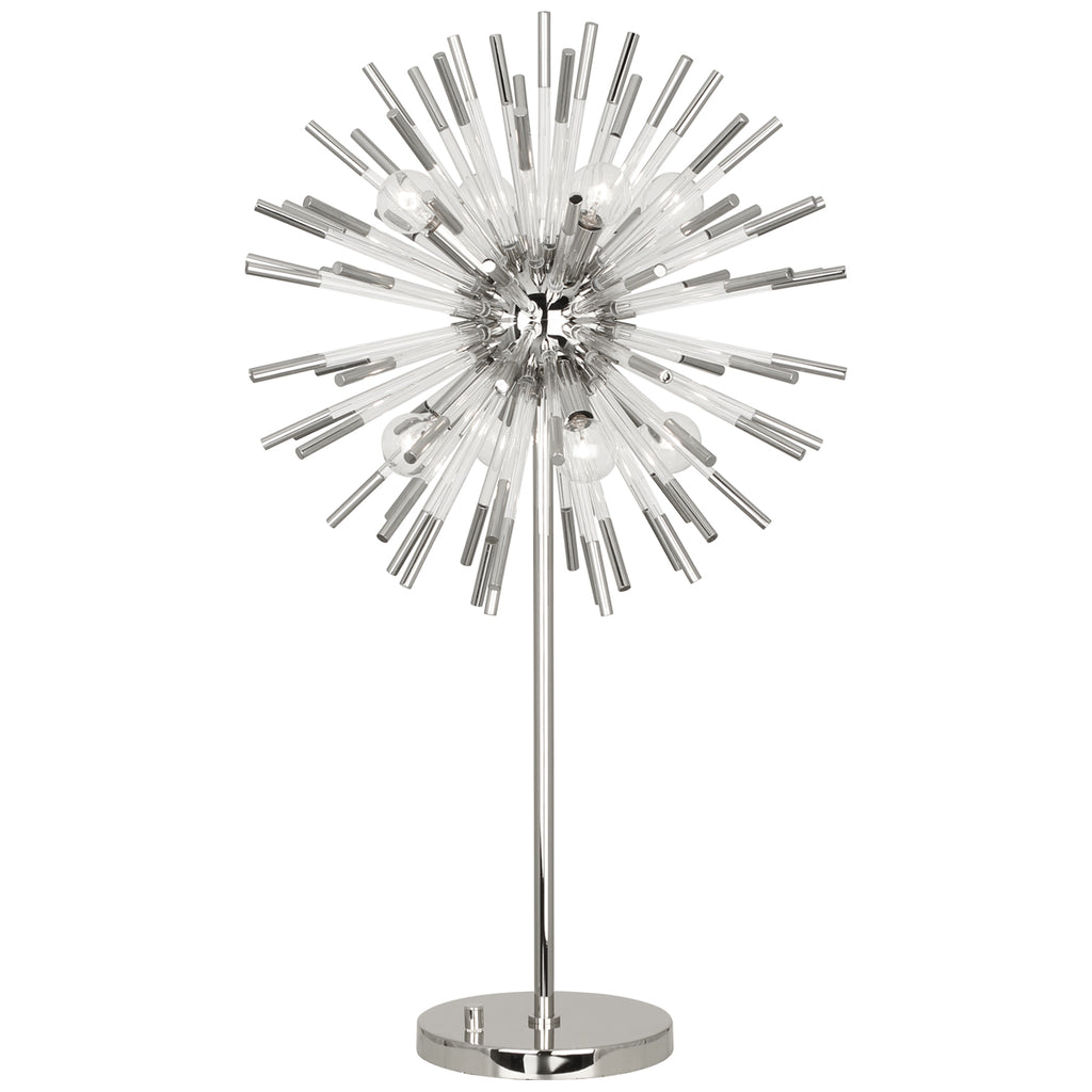 Andromeda Table Lamp in Polished Nickel Finish w/ Clear Acrylic Accents design by Robert Abbey
