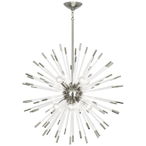 Andromeda Chandelier in Polished Nickel Finish w/ Clear Acrylic Rods design by Robert Abbey