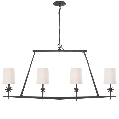 Etoile Linear Chandelier in Black Rust with Natural Paper Shades by Ian K. Fowler