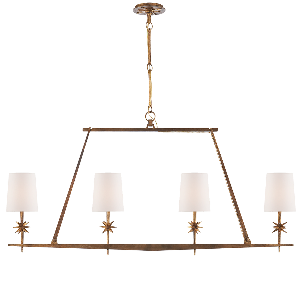 Etoile Linear Chandelier in Gilded Iron with Natural Paper Shades by Ian K. Fowler