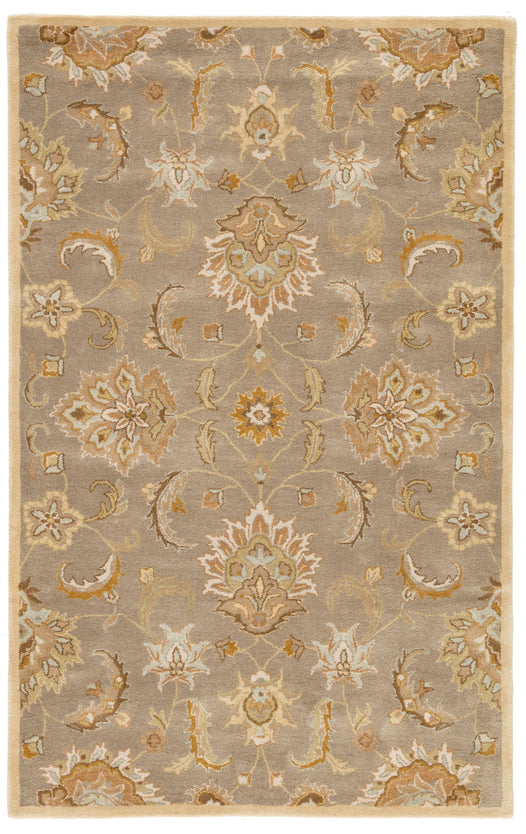 Abers Handmade Floral Gray & Beige Area Rug