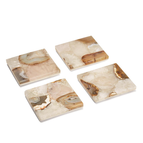 Set of 4 Agate Coasters with Marble Base