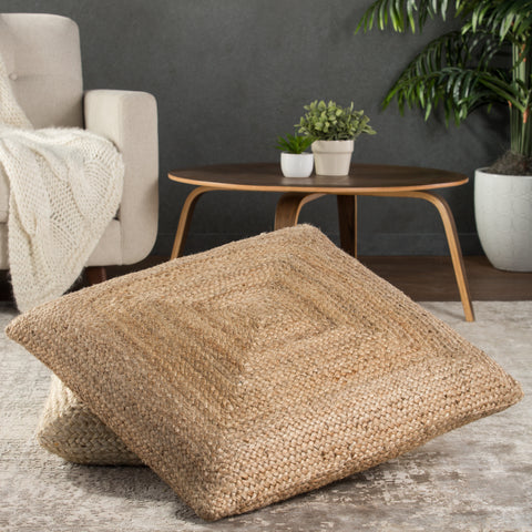 Natia Solid Tan Floor Cushion