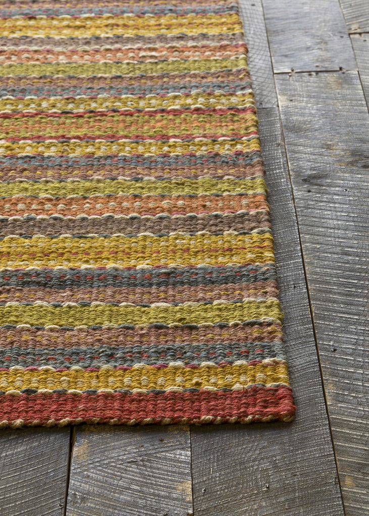 Saket Collection Hand-Woven Area Rug in Brown, Red, Blue, & Green