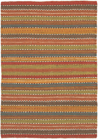 Saket Collection Hand-Woven Area Rug in Brown, Red, Blue, & Green design by Chandra rugs