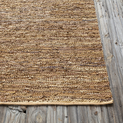 Saket Collection Hand-Woven Area Rug in Gold & Beige