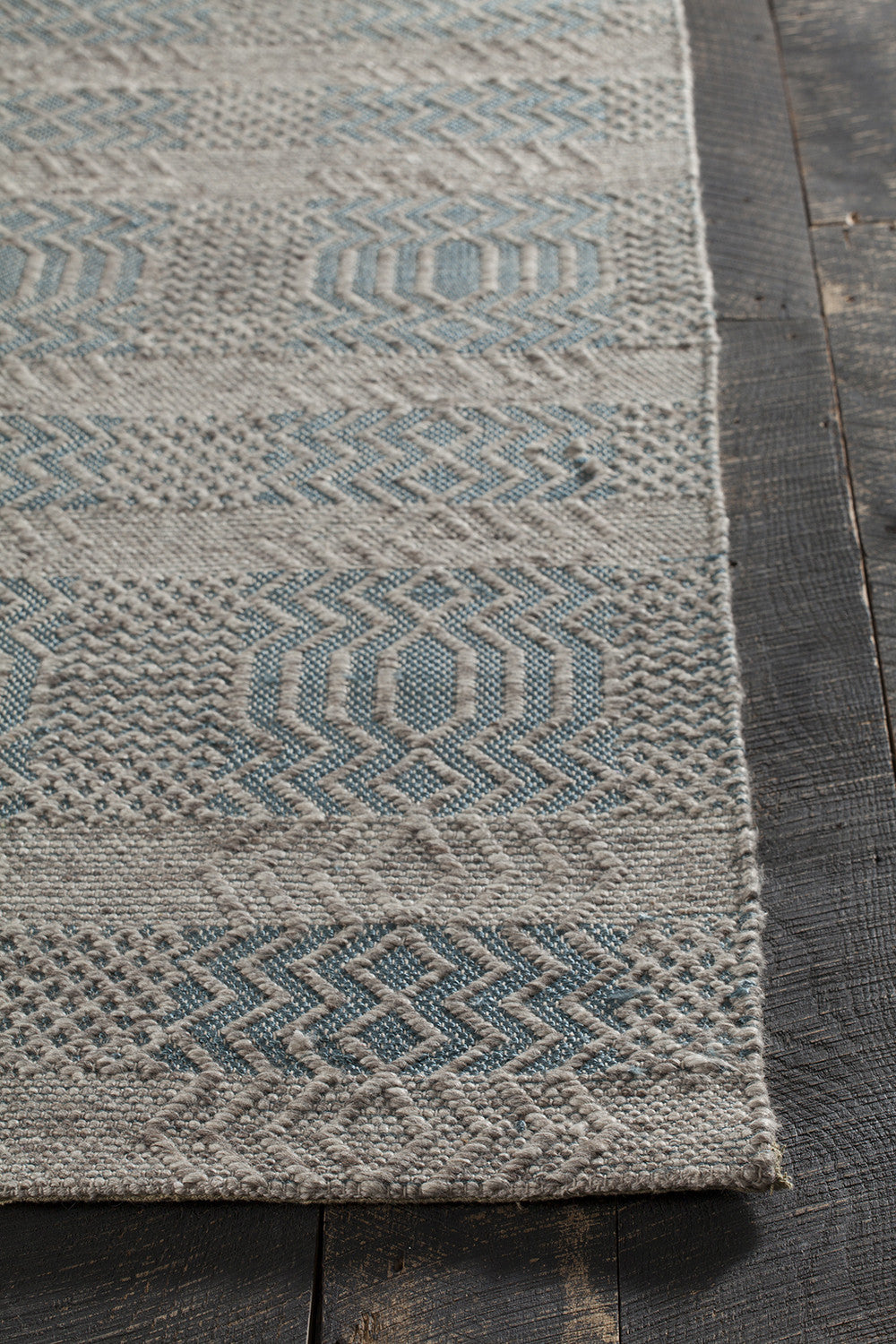 Salona collection hand woven area rug in blue natural for Decor international handwoven rugs