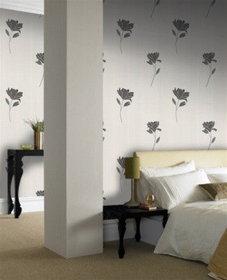 Sample Simplicity Wallpaper in Black & White by Graham and Brown