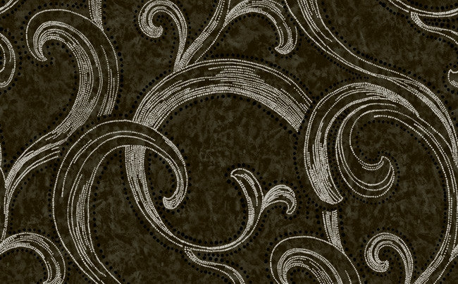 Sample of Abstract Swirl Wallpaper in Black- Seabrook Designs