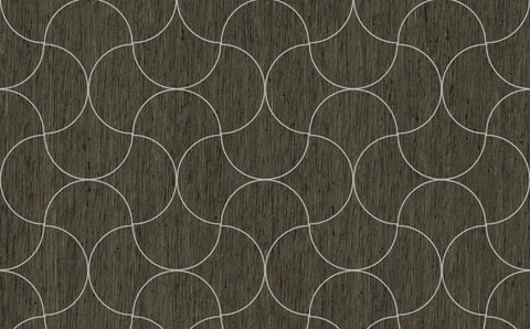 Sample of Abstract Design Damask in Black and White  - Seabrook Designs