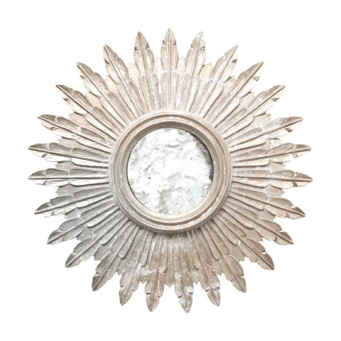Santo Small Champagned Silver Leaf Starburst Mirror w/ Antique Mirror Inset design by BD Studio