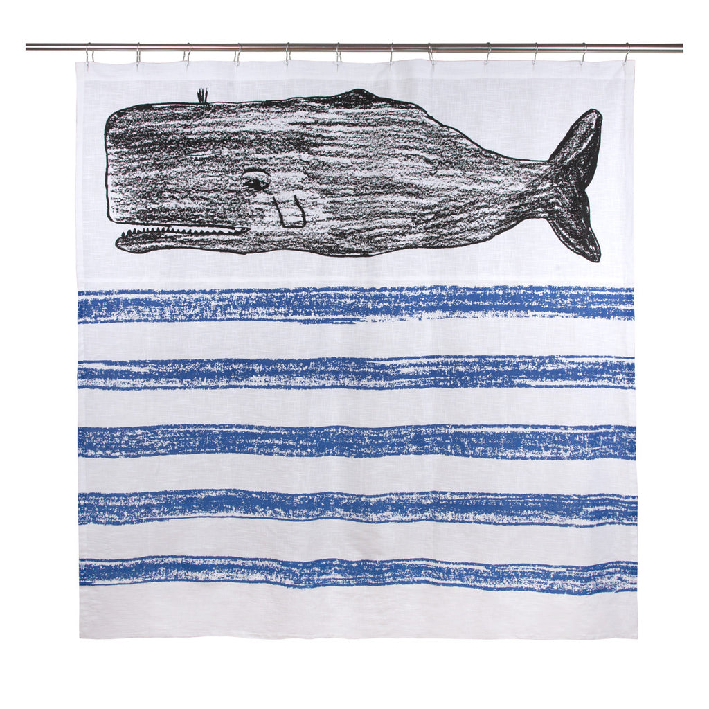 Whale Sketch Shower Curtain design by Thomas Paul