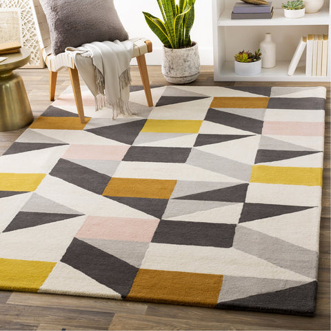 Scion SCI-45 Hand Tufted Rug in Black & Cream by Surya