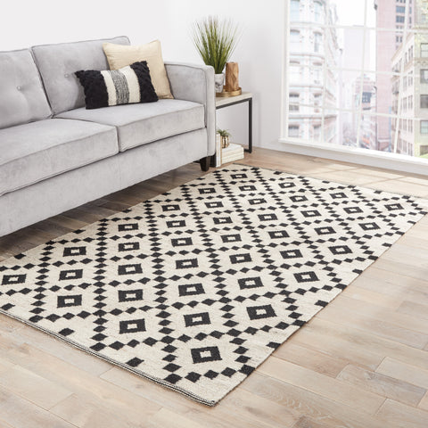 Croix Geometric Rug in Turtledove & Jet Black design by Jaipur
