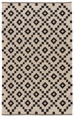 Croix Handmade Geometric Black & White Area Rug