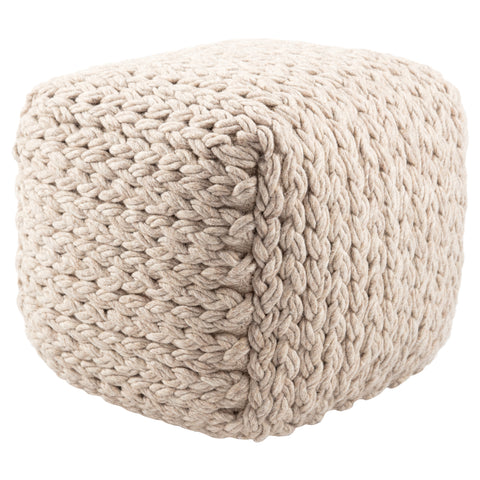 Scandinavia Pouf in Moonbeam design by Jaipur