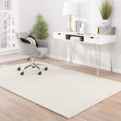 Karlstadt Solid Rug in Whisper White & Simply Taupe design by Jaipur Living
