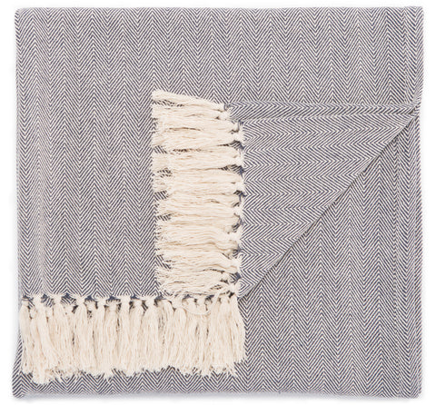 Cannon Blue & Cream Chevron Throw